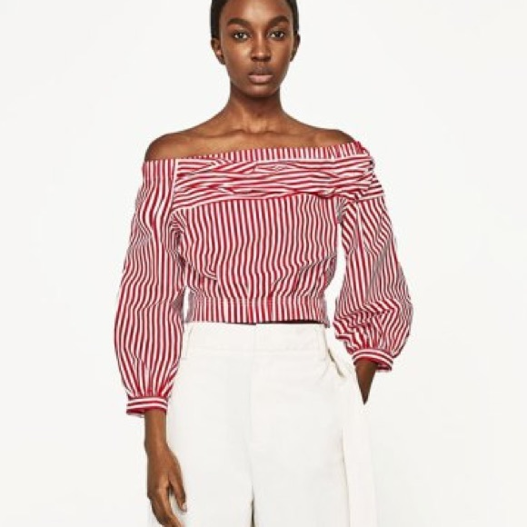 72ac11aba0bb8 Zara Red Striped Off Shoulder Top 💋! M 5b4b6c9545c8b36eaca784ed